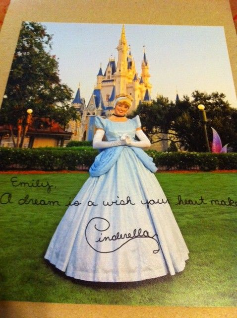If you write a letter to a character at disney (Walt Disney World Communications P.O. Box 10040 Lake Buena Vista, FL 32830-0040), they will send you an autographed photo back :): Walt Disney World, Good View, A Letter, Box 10040, Disney Walt, Disney Character, Disney Worlds