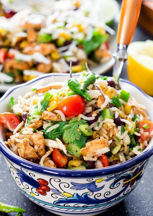 Mexican Chicken and Rice Salad #healthy #mexican #salad #easydinner
