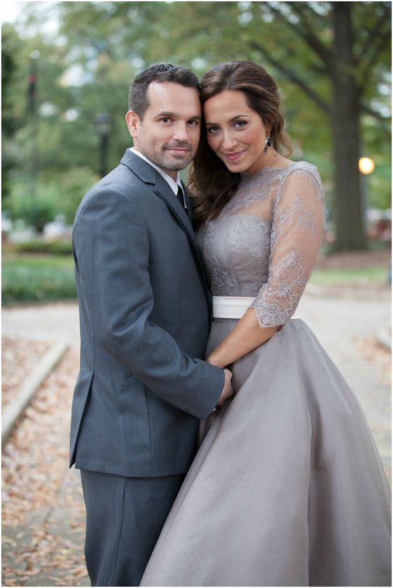 Grey Wedding Dress | These are the exact colors I want for me and my fiance's wedding! Light grey for me, charcoal grey for him. Gorgeous.