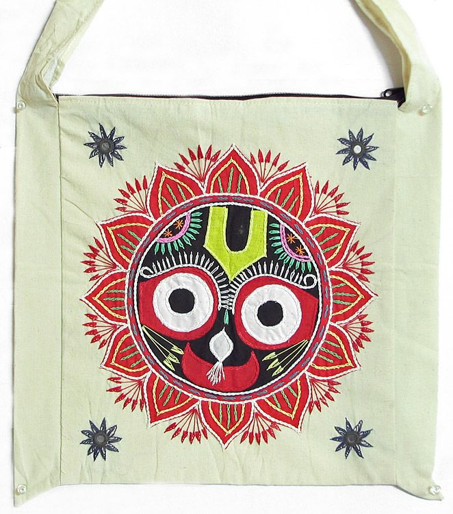 Appliqued and Embroidered Jagannath Dev on Cotton Bag (Cloth))