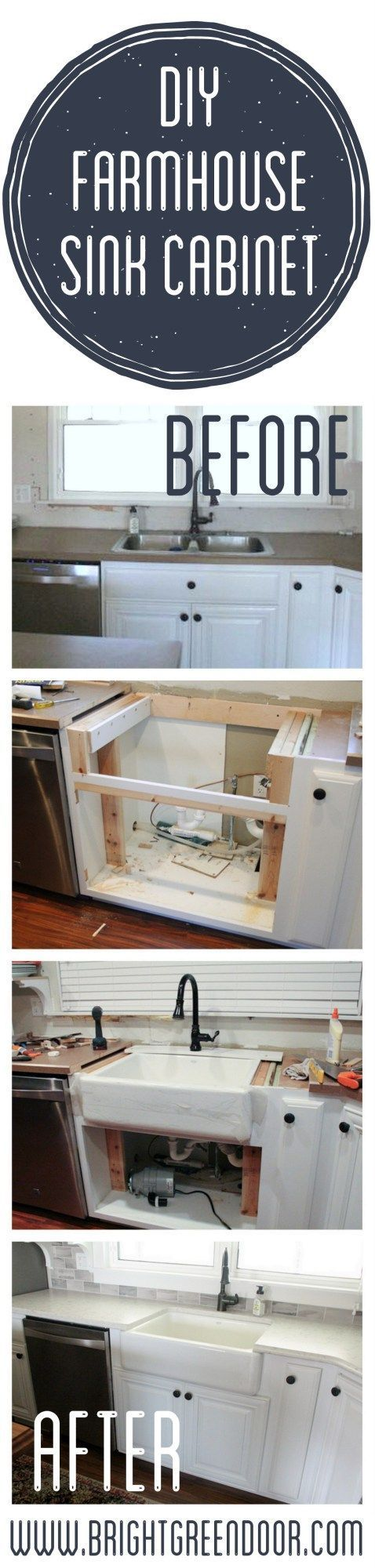 How we converted an existing cabinet to fit a new farmhouse sink