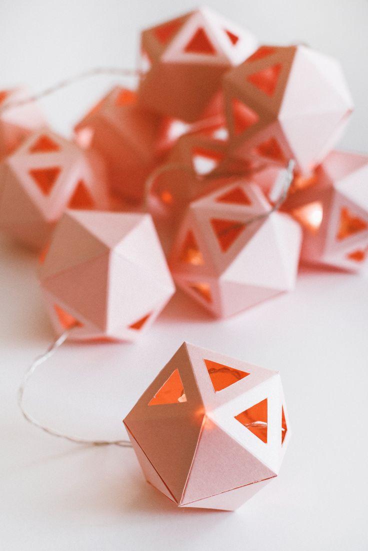 Light rose geometrical light garland made by Edinas paper everydays