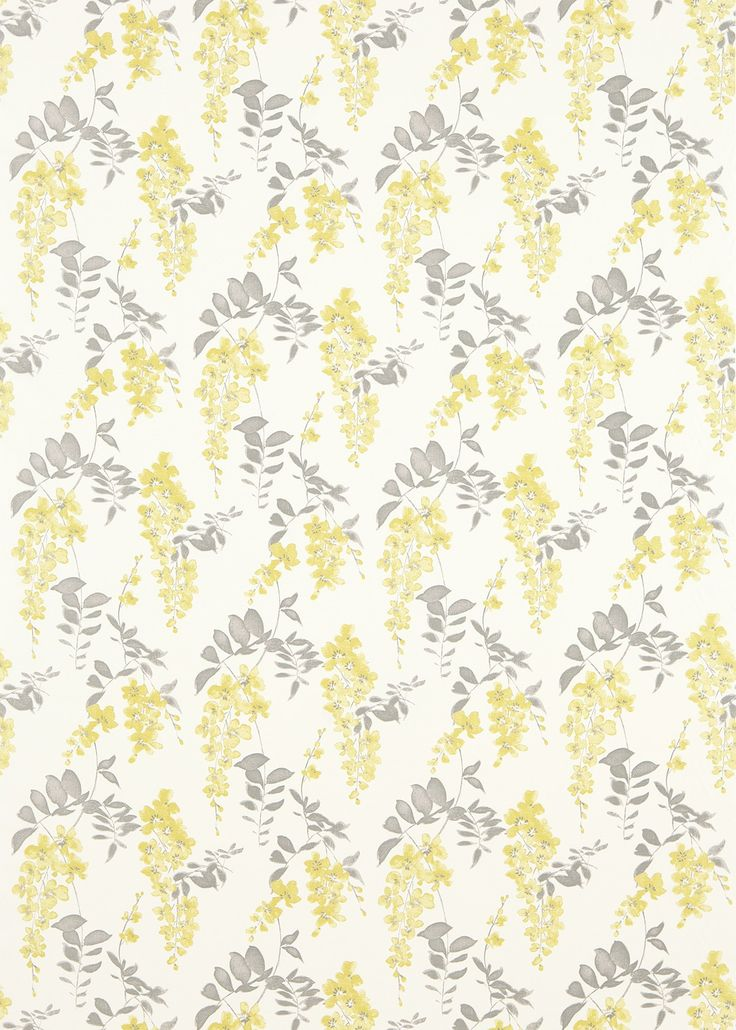 Wisteria Blossom  (223578) - Sanderson Fabrics - An elegant fabric, featuring a large scale, all over trailing pattern of wisteria blossoms. Shown here in linden and charcoal. Other colourways are available. Please request a sample for a true colour and texture match.