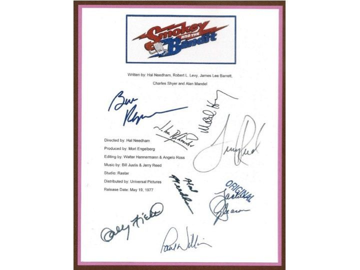 Smokey and the Bandit Movie Script Signed Autographed Burt Reynolds, Sally Field, Jackie Gleason, Hal Needham, Paul Williams