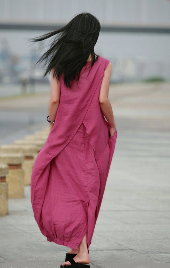 Long linen dress in pink