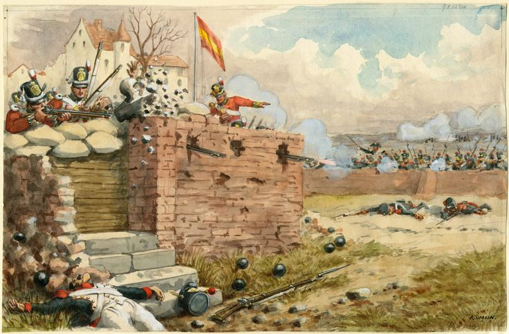 94th Regiment of Foot(The Scots Brigade) defend Fort Matagorda at the Seige of Cadiz on 21st March 1810 by Richard Simkin. Unusually Simkin has shown the regiment wearing Belgic shakoes, which is unlikely at this time, I believe they should be wearing the stovepipe shako.
