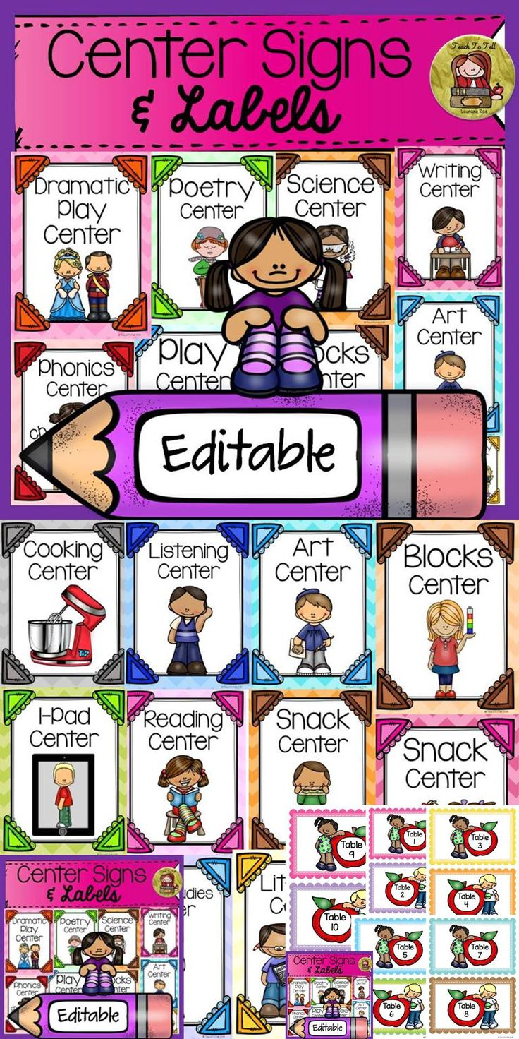 Use these 21 editable Classroom Center Signs and 10 editable labels to decorate your classroom. https://www.teacherspayteachers.com/Product/BACK-TO-SCHOOL-EDITABLE-CLASSROOM-CENTER-SIGNS-LABELS-CLASS-DECOR-1993743