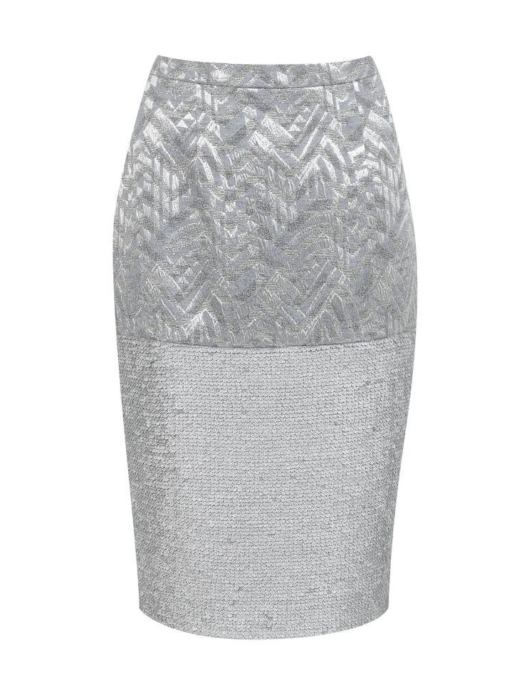 Купить со скидкой A la Russe серебряная юбка-карандаш с узором, декорированная паейтками (77731) – распродажа в Боско Аутлет