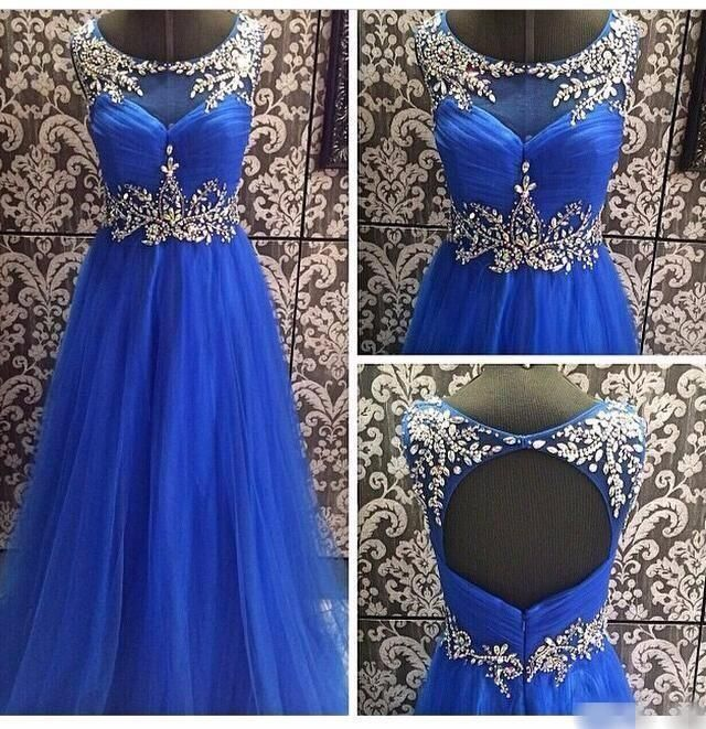 Real Photos Crystals Prom Dresses Backless Dresses Party Evening Long Royal Blue Beading Evening Formal Gowns Plus Size Sweep Train