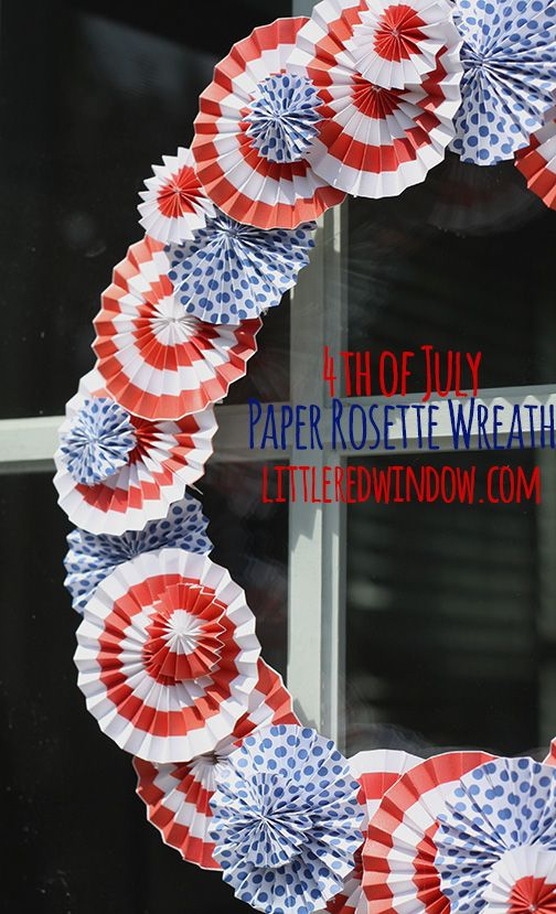 4th of July Paper Rosette Wreath |  littleredwindow.com