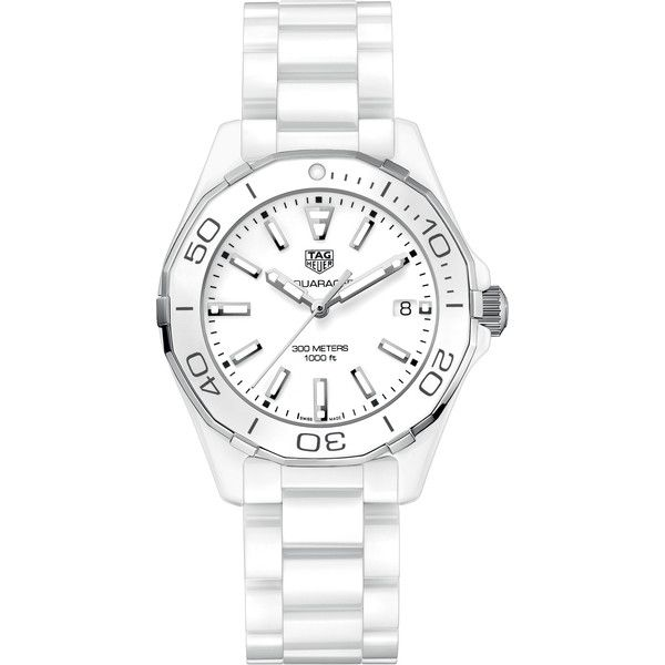 Tag Heuer Aquaracer Quartz Ladies 35mm way1391.bh0717 Watch (24 900 ZAR) ❤ liked on Polyvore featuring jewelry, watches, ceramic, quartz wrist watch, white jewelry, tag heuer, white quartz jewelry and white watches