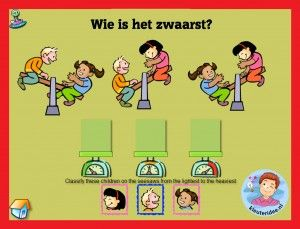 Wegen met kleuters op digibord of computer, kleuteridee / weight game for preschoolers in IWB or computer