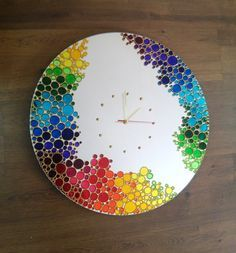Big Rainbow Bubbles  Mirror Wall Clock Hand Painted by ArtMasha