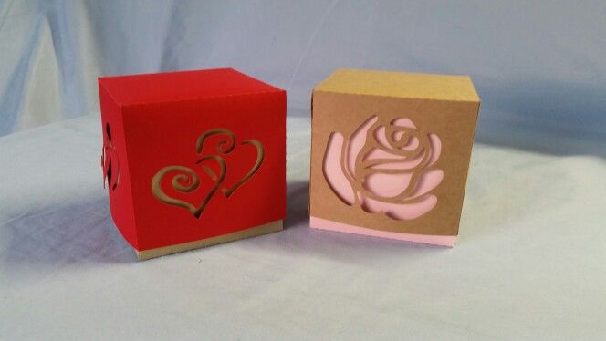One of my latest designs and new box styles...two piece square boxes with stencil shapes cut out of them.