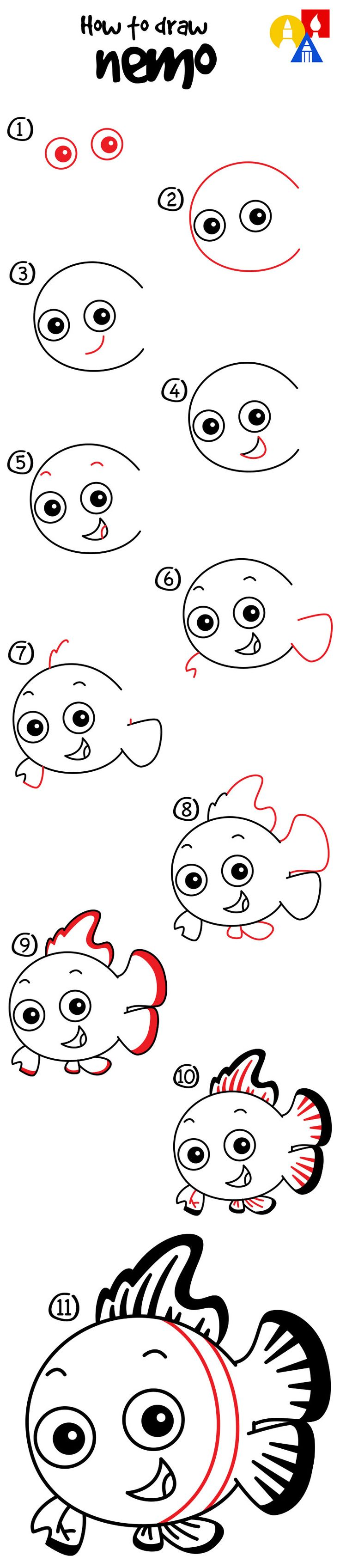 62 best afkh step by steps images on pinterest easy drawings how to draw nemo art for kids hub drawing stepdory altavistaventures Image collections