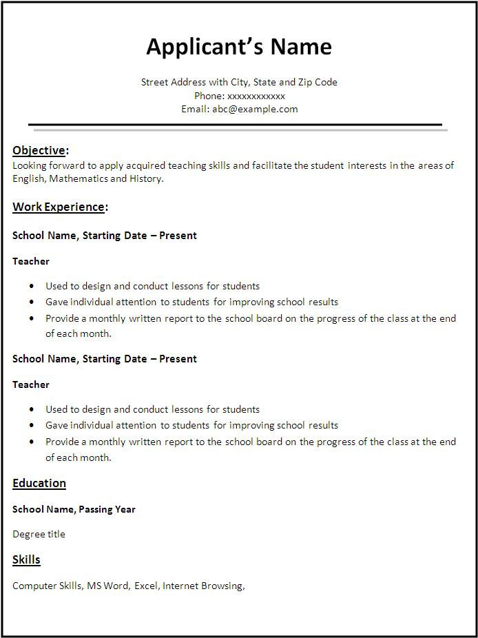 Resume Sample For Post Of Teacher  Template