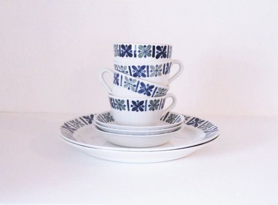 Arabia of Finland Katrilli Set of Tea Cups Saucers by modfolk, $60.00