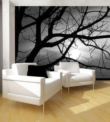 Vlies fotobehang Schemering - Bomen behang