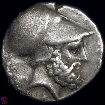 Leucippus on a coin, with Corinthian helmet....