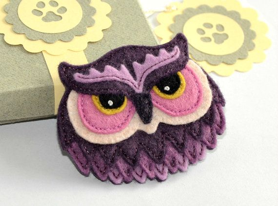 Felt Owl Brooch / Pin  Hand Stitched from by CreaturesInStitches, £15.00