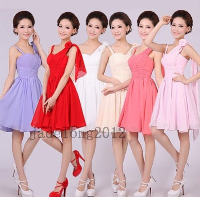 Hot Sale Padded Short Mini Bridesmaid Prom Party Evening Dress For Wedding #Unbranded