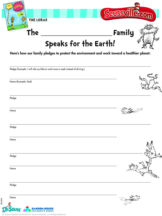 seussville coloring pages - seussville parents earth day pledge sheet the lorax