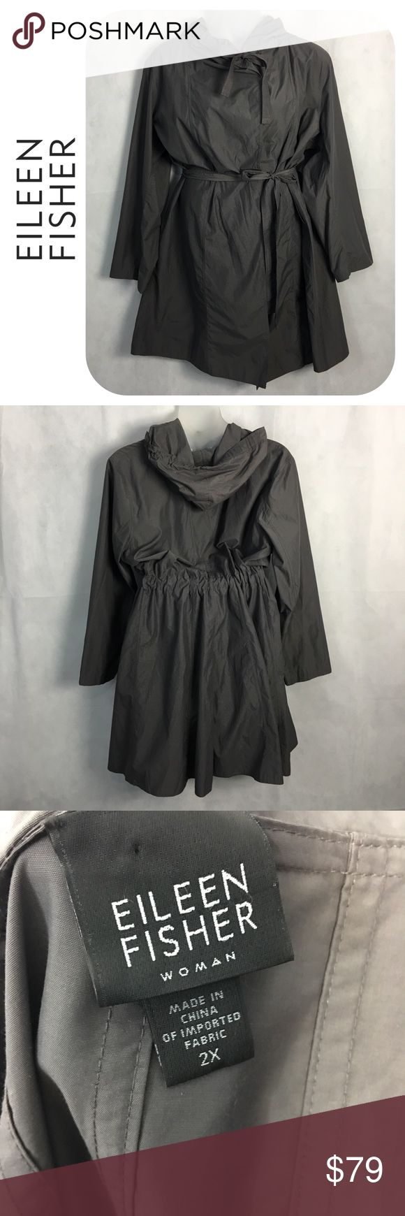 Eileen Fisher Woman Plus Hooded Raincoat Size 2x Eileen Fisher Hooded Raincoat Size 2x  Excellent condition  Material pictured Eileen Fisher Jackets & Coats