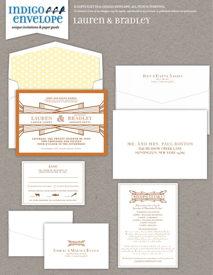Letterpress art deco invitation | Design by Indigo Envelope | www.indigoenvelope.com #indigoenvelope #gatsbyweddings #invite