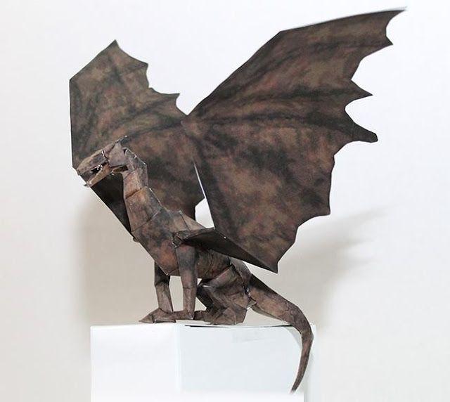 PAPERMAU: Drakan - Arokh The Dragon Statue Paper Model - by Metalfist 0