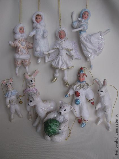 Set of spun cotton ornaments by Litvinova Ludmila €323.24