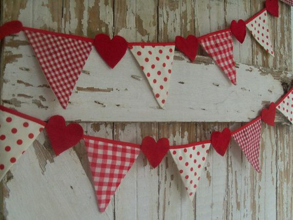 PARTY Banner Garland HEART Decor fabric flags by DivineFinds4u