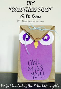 DIY Owl Miss You Gift Bag is perfect for end of the school year gift! You can even make as a party gift and write a personal note on the bag.