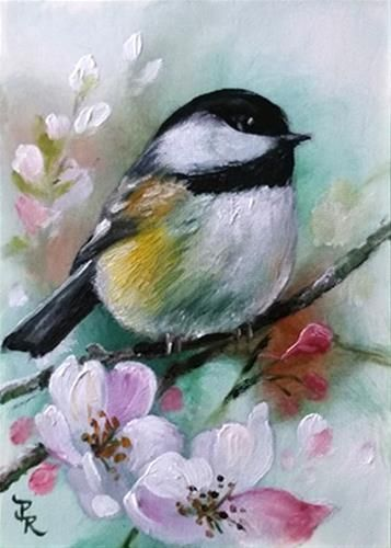"""Daily Paintworks - """"Mint Chickadee  ACEO"""" - Original Fine Art for Sale - © Paulie Rollins"""