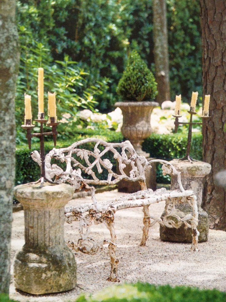i love this..: Antiques Gardens, Irons, Outdoor Living, Patio Furniture, Candles Holders, Wicker Furniture, Romantic Gardens, Beautiful Gardens, Gardens Benches