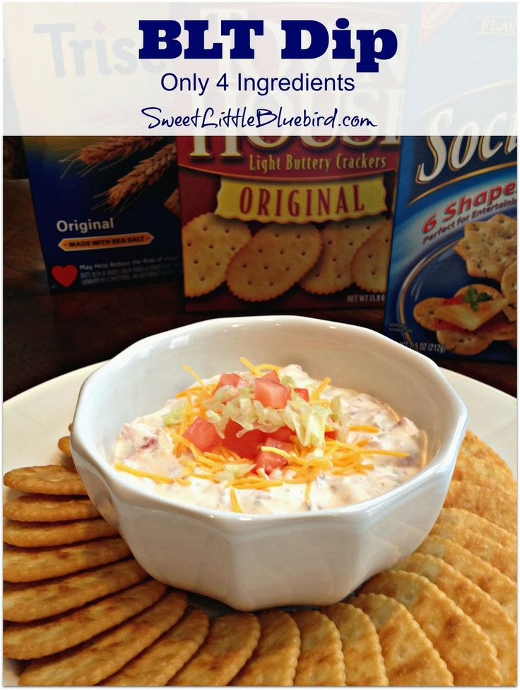 BLT DIP - Simple to make with only 4 ingredients!  So good - always a hit at parties!   | SweetLittleBluebird.com