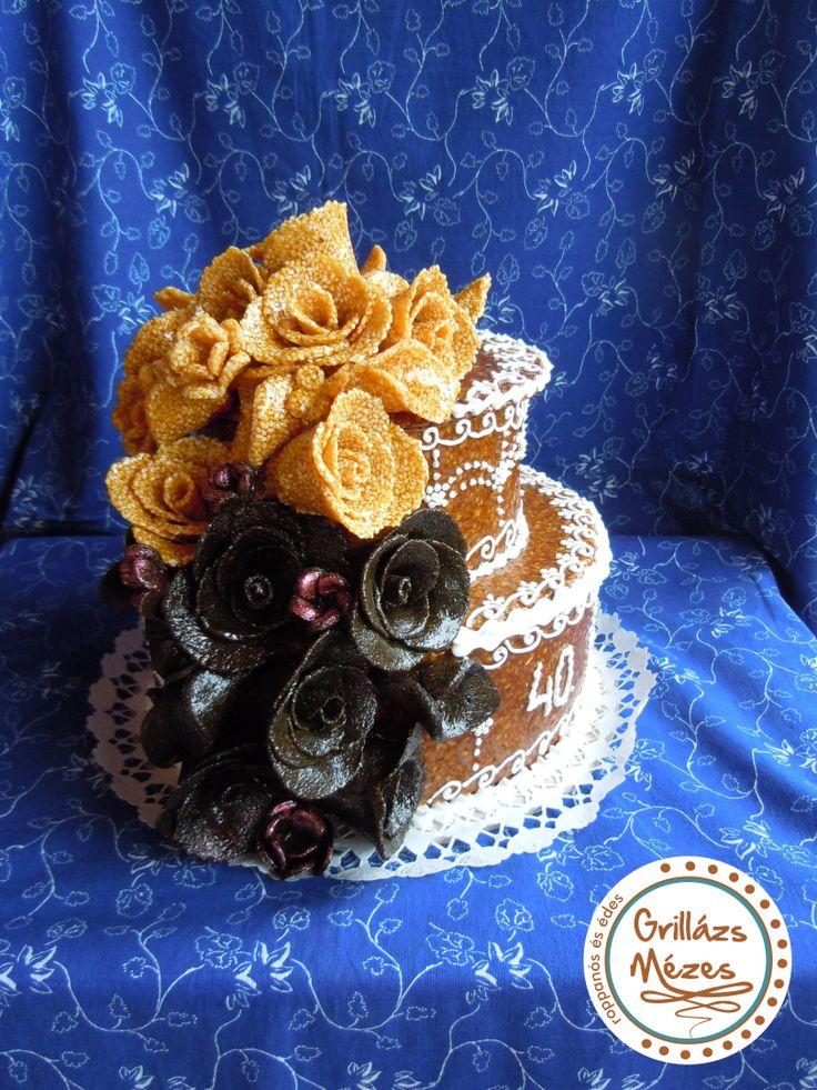 Fekete- fehér rózsás torta