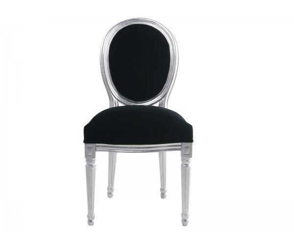 Krzesło Louis Leaf Velvet Srebrne Czarna Aksamitna Tapicerka - 11
