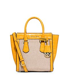 Colette Medium Embossed-Leather and Canvas Messenger by Michael Kors
