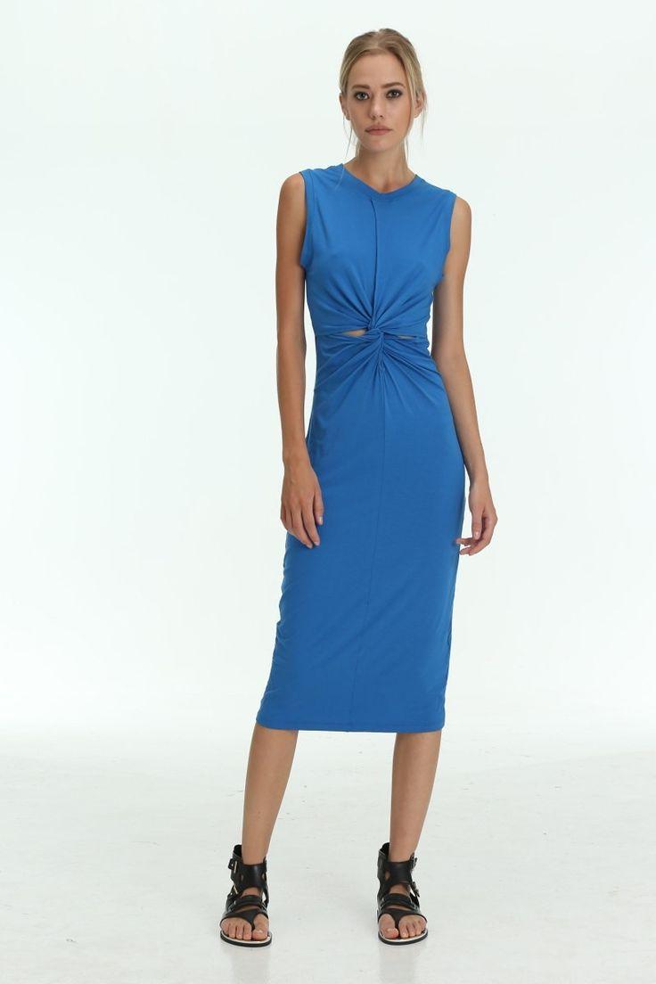 The Shanti Butterfly - Blue / Red / Green Latitude Knot Midi Stretch Dress