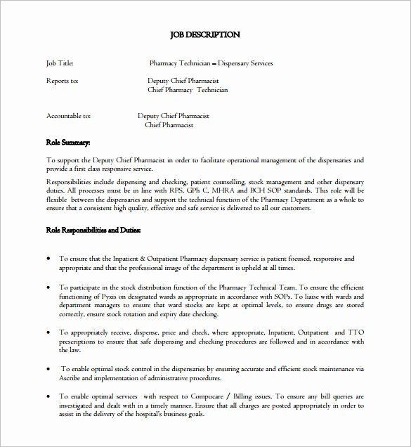 23 Pharmacy Technician Job Description Resume Job Description