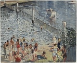 The Swimming Enclosure, 1941, by  Herbert Edward Badham (1899-1961).   Find more detailed information about this painting: http://www.sl.nsw.gov.au/events/exhibitions/2007/seldomscene/images/1.html  From the collection of the State Library of New South Wales:  www.sl.nsw.gov.au