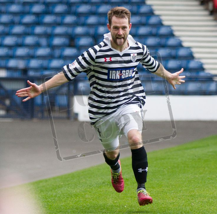 Queen's Park's Vinnie Berry celebrates his goal during the SPFL League Two game between Queen's Park and Clyde.