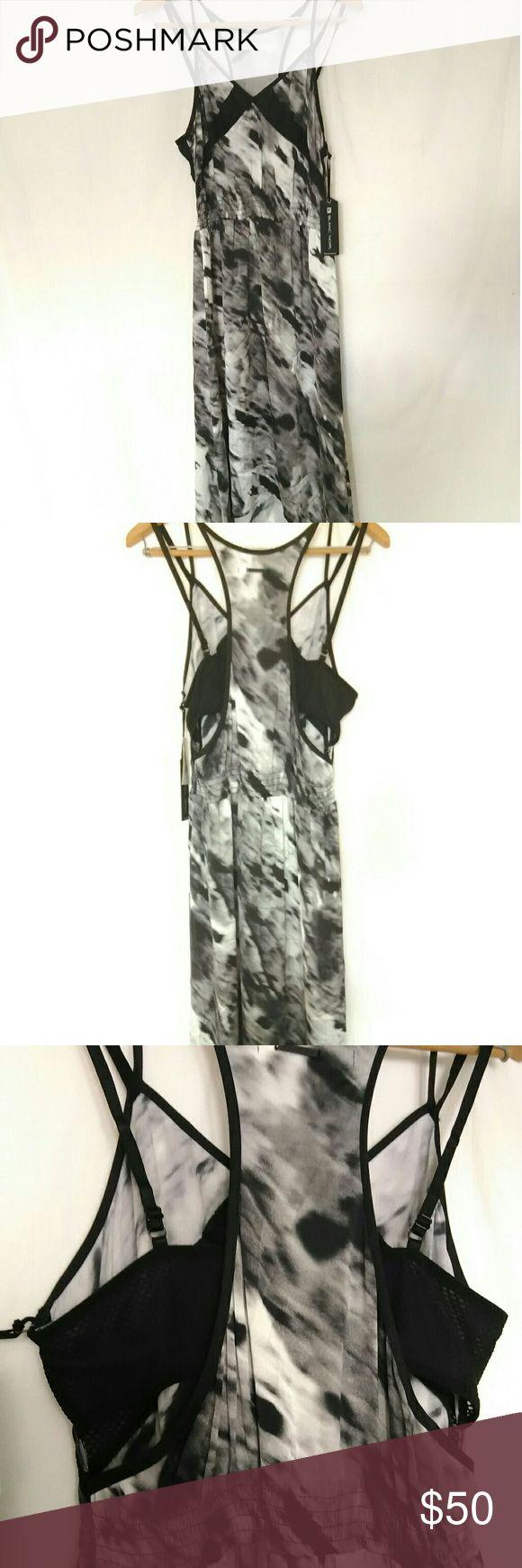 Black Noir Print Silk Slip High Low Design Dress Silk/Spandex Blend, Smocked waist,  Exposed sewn in bra open back, Length 46 inches Black Noir Dresses High Low