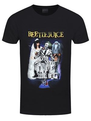 Let's turn on the juice and see what shakes loose! Represent the iconic 1988 movie classic Beetlejuice with this epic film art t-shirt! Directed by legend Tim Burton and starring Michael Keaton as Betelgeuse, this comedy-fantasy movie has definitely stood the test of time! It's show time! Official merchandise.
