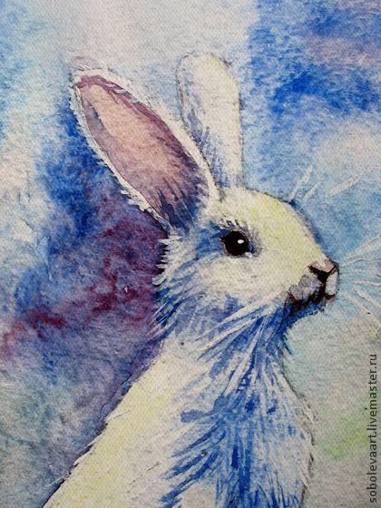 Картина - Печать на холсте - белый Рождественский Заяц - акварель. На картине изображен белый заяц (зайчик) на полянке с белым снегом. Это репродукция с моей работы 'зайчик'  напечатана на холсте.     Холст натянут на подрамник, бока подрамника сделаны в продолжение картине и раму можно не одевать.     Размер 21х30см.
