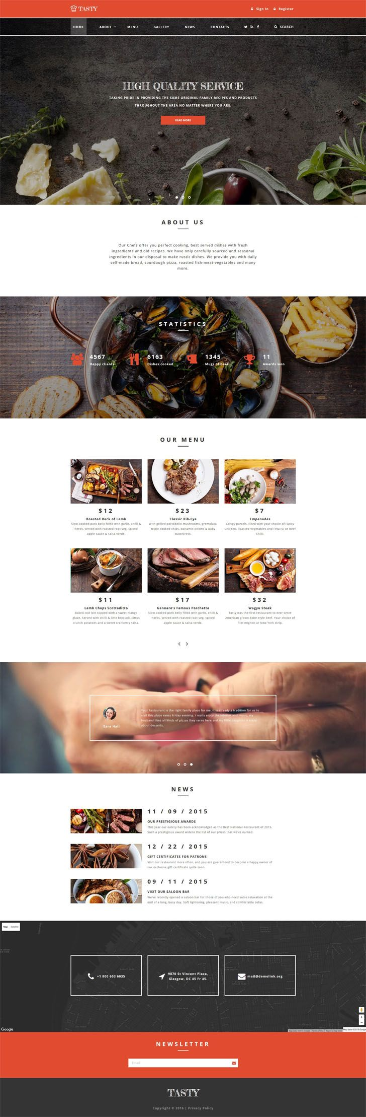 #Tasty & #Cafe and #Restaurant #Website #Template.The theme was developed for cafe and restaurant websites. Slider, Parallax effect and background video make the layout of Cafe and Restaurant Website Template really impressive. Chalk fonts are a brilliant addition to the general web page style. Main menu sticks to the top of the page as you start to scroll down, and stays there all the time while the visitor is on the site. Restaurant menu is presented together with prices, which makes the…