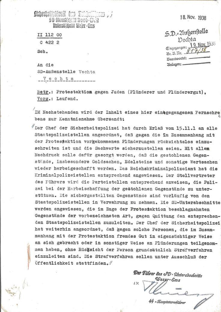 Internal Nazi document referring to Kristallnacht, November 1938.