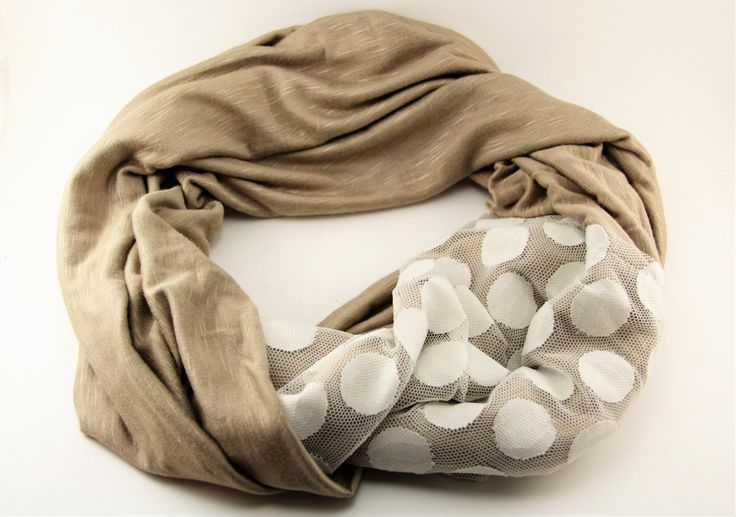 Coffee and Cream Jersey Knit and Lace Infinity Scarf by theglassbird on Etsy