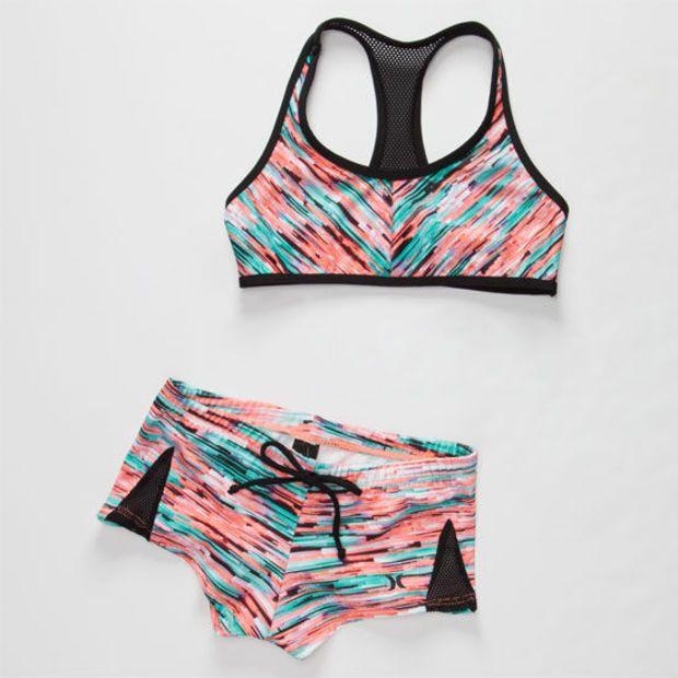 Hurley Static Girls Crop/Boyshort Bikini Set Multi  In Sizes