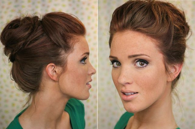 The bouffant bun. So freakin easy for lazy times!